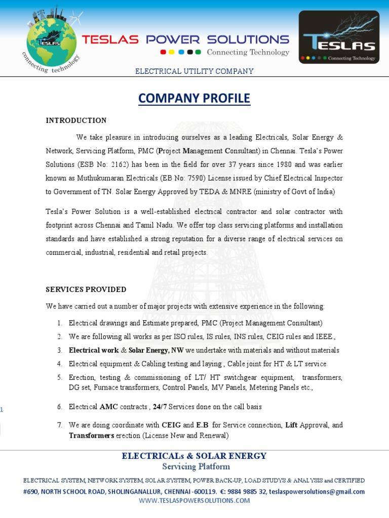 TESLAS POWER SOLUTIONS Company Profile