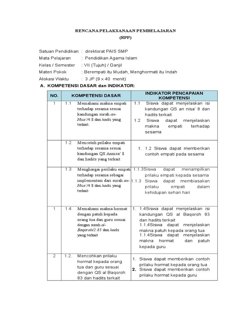 Rpp Pai Kelas 7 Bab 9