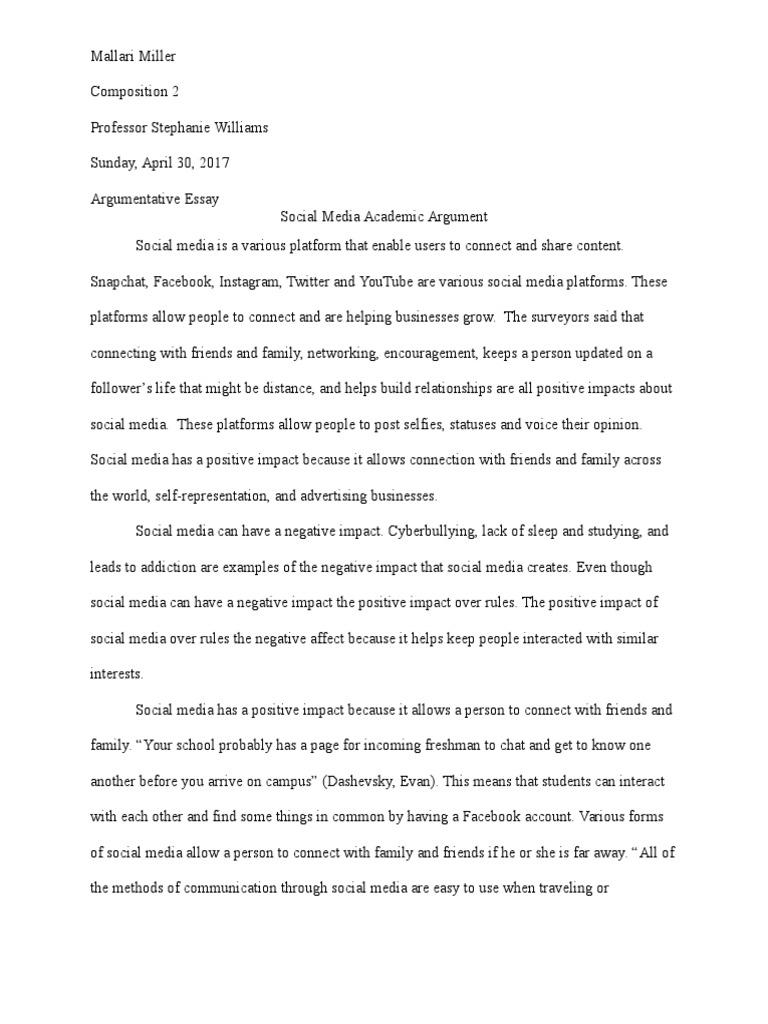 argumentative essay on social media