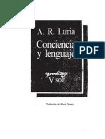 A. R. Luria - Conciencia y Lenguaje