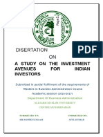 A STUDY ON THE INVESTMENT AVENUES FOR INDIAN INVESTOR
