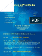 Experience in Print Media