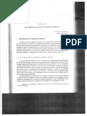 Palabras Con Estructura Interna En Panorama De La Lexicología