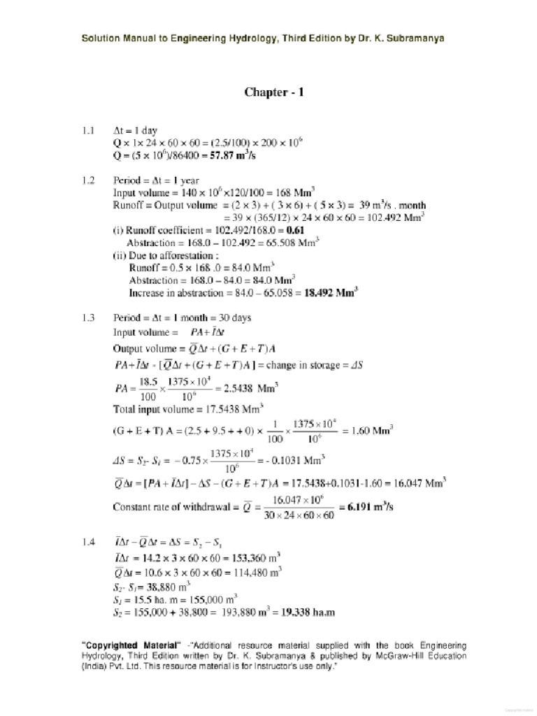 330317381 engineering hydrology solution manual 3rd edition k rh scribd com Agricultural Engineering Environmental Engineering