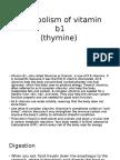 Metabolism of Vitamin b1