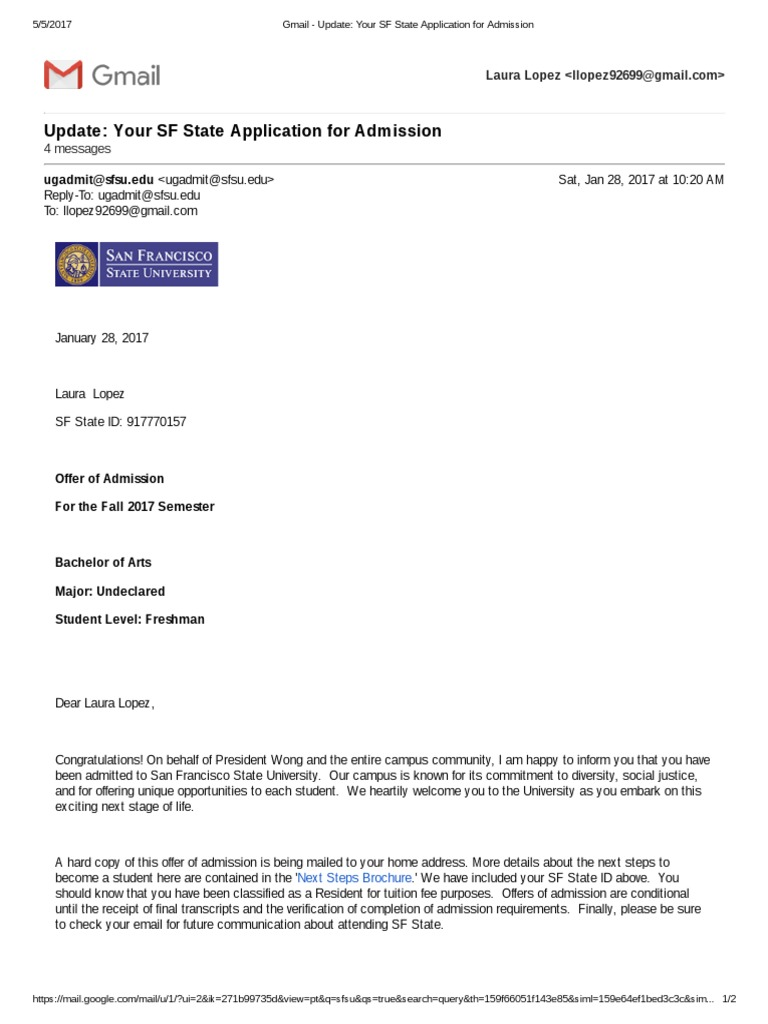 san francisco state university admission requirements