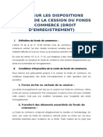 Note Sur Dispositions Fiscales de Cession Du Fonds de Commerce