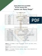 Cronograma General Del Plan Vacacional