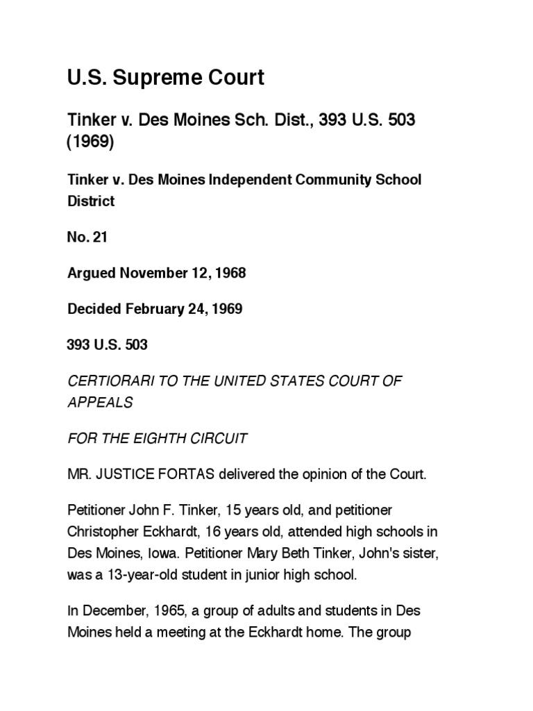 Tinker v  Des Moines Sch  Dist , 393 U S  503 (1969) | First
