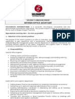 Vacancy Announcement Interim Office Assistant 16 07 10