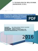 Proyecto Obras Especiales Caracterización de la cuenca comunidad Cuartos Río Cuartos