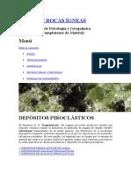 Tipos de Depositos de Vitroclastos y Rocas Volcanicas