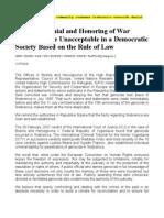 Srebrenica Genocide Denial Unacceptable in Democratic Society