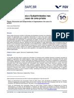 Lugares, Discursos e Subjetividades nas Organizações