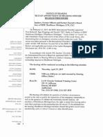 SEIU's Notice of Trusteeship Hearing for SEIU Healthcare Michigan