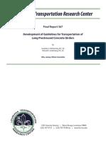 FR_567 Development of Guidelines for Transportation of Long Prestressed Concrete Girders