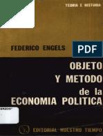 Objeto y Método de la Economía Política, Federico Engels
