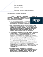 Affidavit of Waiver and Quitclaim