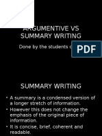 Argumentive vs Summary Writing