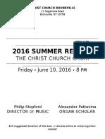 CCB Choir Concert Program