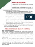 Pemeriksaan Radiofarmasi Dan Quality Control