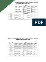 Jadwal Pelajaran Kelas i a Sdn 1 Sumber Agung 2016