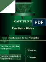 ESTADISTICA BASICA Clasificacion de las variables