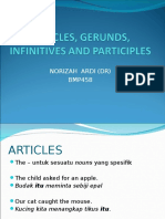Articles, Gerunds, Infinitives and Participles