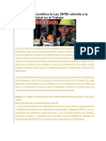 Ley Nº 30222 Modifica La Ley 29783 Referida a La Seguridad y Salud en El Trabajo