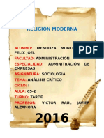 Análisis Crítico Sobre La Religión en La Edad Moderna