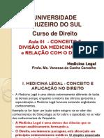 Aula 1 - Conceito e Divisão Da Medicina Legal