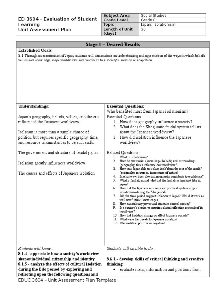 unit assessment plan japan | Educational Assessment | Evaluation