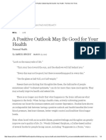A Positive Outlook May Be Good for Your Health - The New York Times