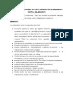 Derechos y Obligaciones de Los Estudiantes de La Universidad Central Del Ecuador