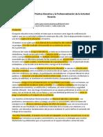 La Recuperación de La Práctica Educativa y La Profesionalización de La Actividad Docente
