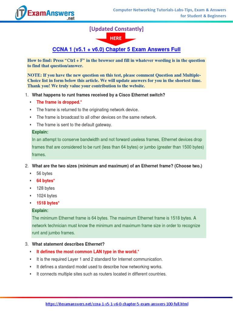 CCNA 1 (v5.1 + v6.0) Chapter 5 Exam Answers 2017 – 100% Full | Network  Switch | Ethernet