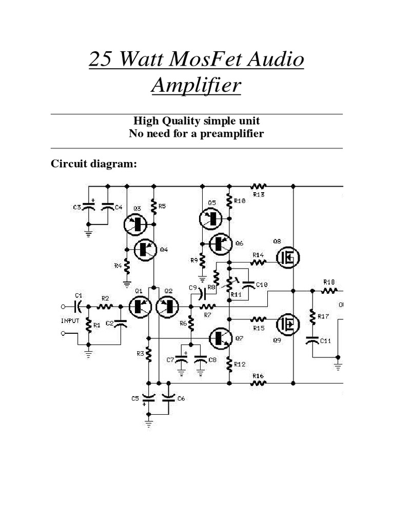 Simple High Watt Fet Amplifier Circuit Diagram Electrical Wiring 70 Mosfet Audio 25 Resistor