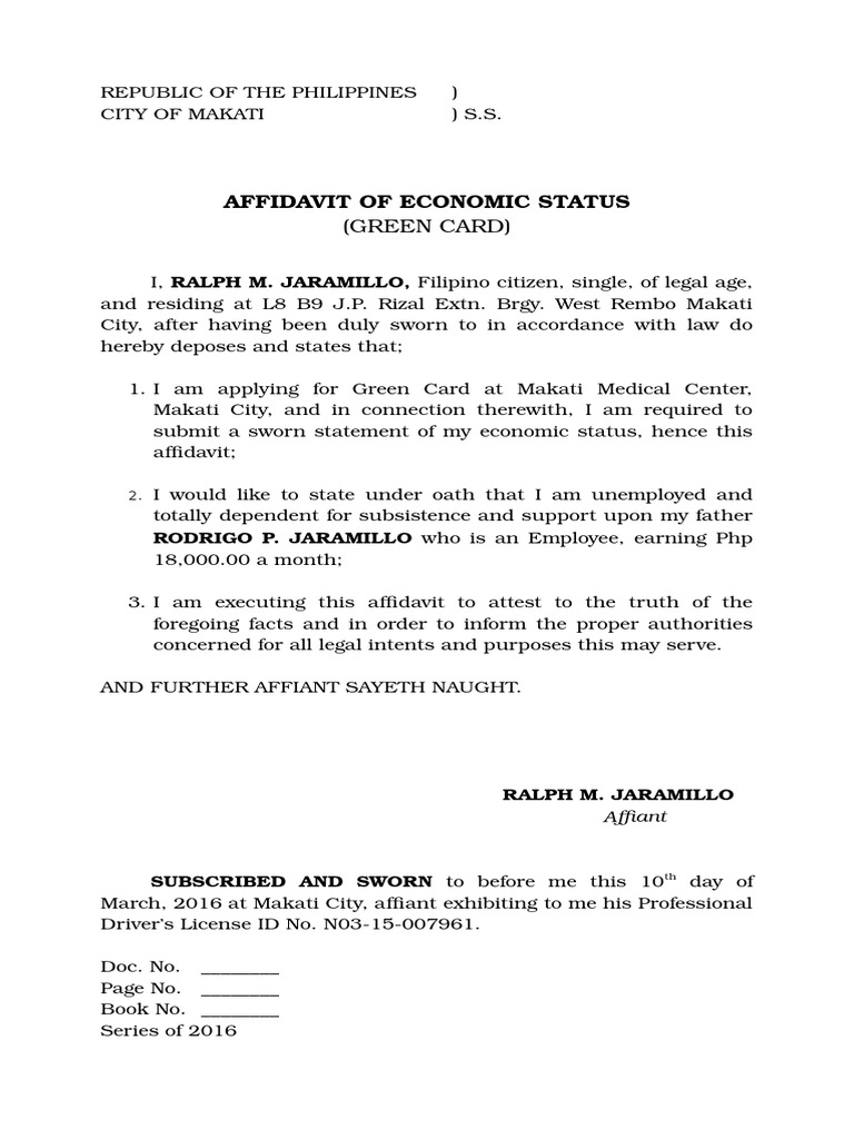 Affidavit Of Economic Status.doc  Affidavit Of Sworn Statement