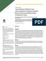 How Outpatient Palliative Care Teleconsultation Facilitates Empathic Patient-Professional Relationships a Qualitative Study