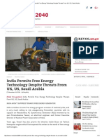 India Permits Free Energy Technology Despite Threats From UK, US, Saudi Arabia