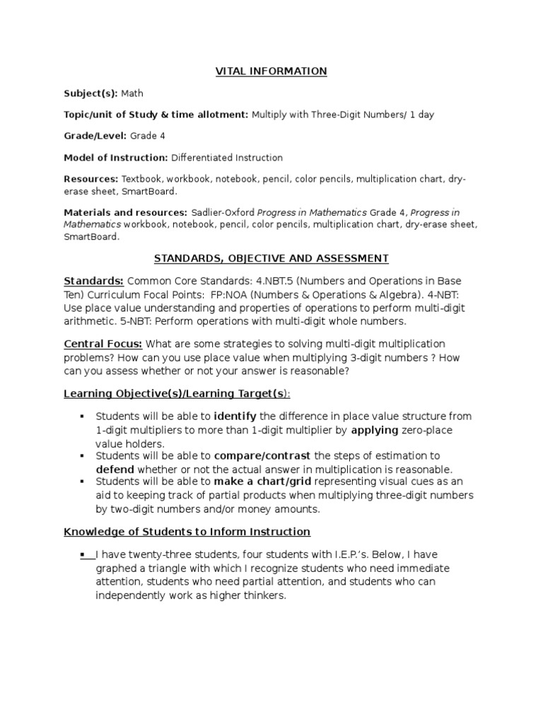 Differentiated Instruction Lesson Plan Differentiated Instruction