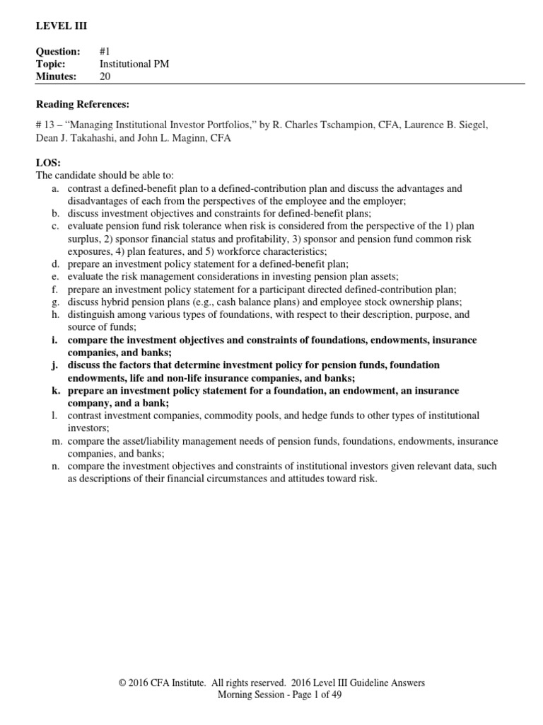 level_III_guidelines_answers_2016 pdf   Asset Allocation