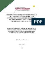Percepciones Respecto Al Desarrollo de La Indagación Científica en Estudiantes de Cuarto de Secundaria de Instituciones Educativas de Chorrillos, UGEL 07 de Lima