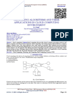 CLUSTERING ALGORITHMS AND THEIR APPLICATIONS IN CLOUD COMPUTING ENVIRONMENT