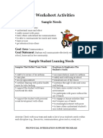 iep worksheet activities