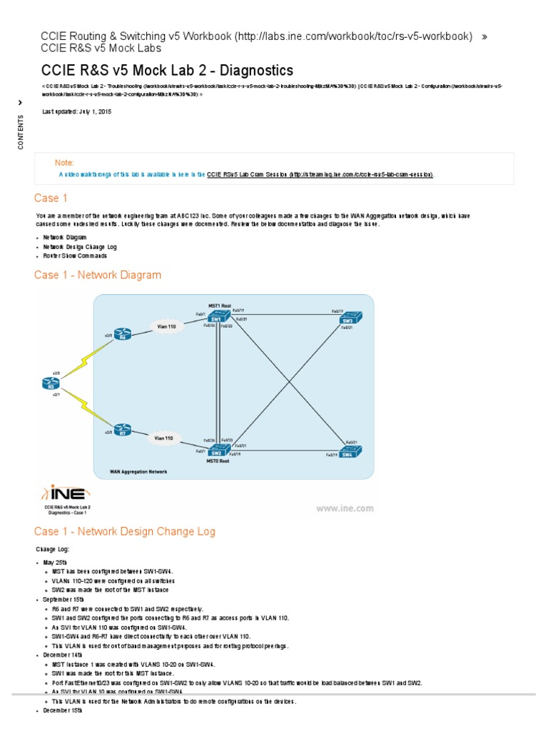 Workbooks ccie workbook : CCIE R&S v5 Mock Lab 2 - Diagnostics   Communications Protocols ...