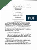 Department of Transportation Vs Great Western Air LLC dba Cirrus Aviation Services procedural order