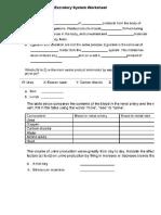 Excretory System Worksheet