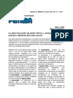 Administración de ácido fólico a embarazadas para prevenir defectos del tubo neural