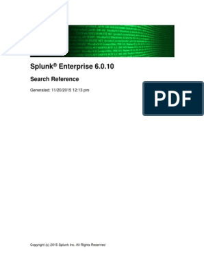 Splunk 6 0 10 SearchReference Cheatsheet | Parameter